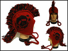 Mohawk skull logo Hat cap beanie Pilot handmade 100% Wool W/ Fleece lining red