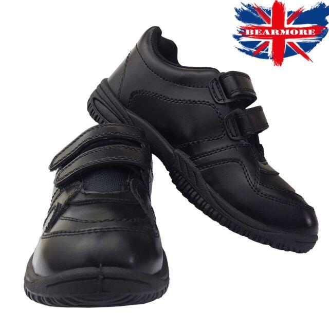 UK 7-2.5 E-H Clarks Boys School Stomp Roar Black leather shoes