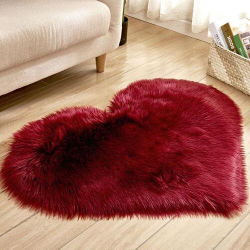 Love Heart Fluffy Mat Rugs Soft Shaggy Fake Faux Fur Bedroom House Rug Mat Decor