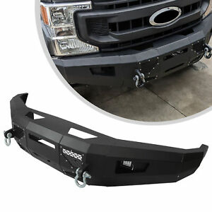 For 2017-2019 Ford F250 F350 F450 2WD 4WD Black Steel Powder Coated Front Bumper