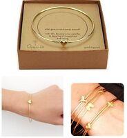 Women's Pretty Gold Heart Love Charm Chain Bangle Bracelet Fashion Jewelry Gift