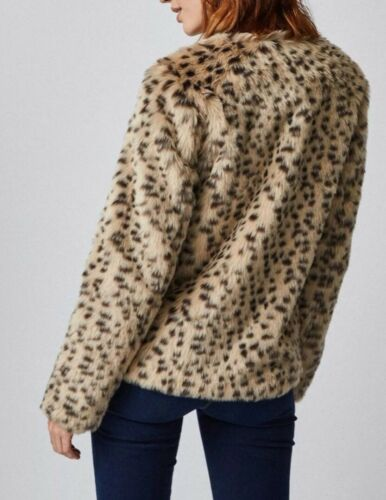 Dorothy Perkins Women/'s Tall Brown Leopard Print Curved Edge to Edge Coat Top