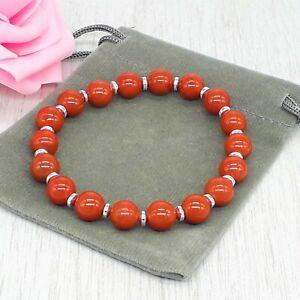 Handmade Natural Red Jasper Gemstone Stretch Bracelet & Velvet Pouch. 6/8mm