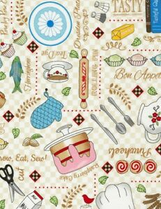 Row-by-Row-Fabric-Food-Baking-Supplies-Kitchen-Cream-Timeless-Treasures-YARD