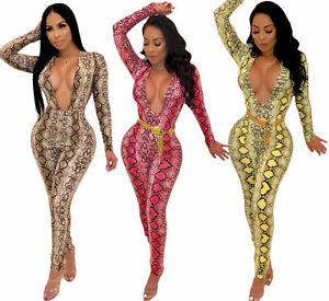 48c0a2d6f61 Women s Sexy Deep V Neck Snakeskin Print Bodycon Long Sleeves ...