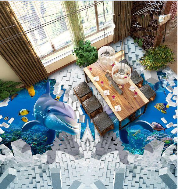 3D delfino mattone Pavimento Foto Wallpaper Murales Muro Stampa Decalcomania