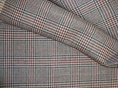 """3.2 yds WOOL CASHMERE PLAID HOUNDSTOOTH FABRIC SUIT 12 oz Jacket 60"""" x 116"""" Gray"""