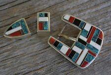 Vintage Native American Zuni Sterling Silver Turquoise Ranger Belt Buckle
