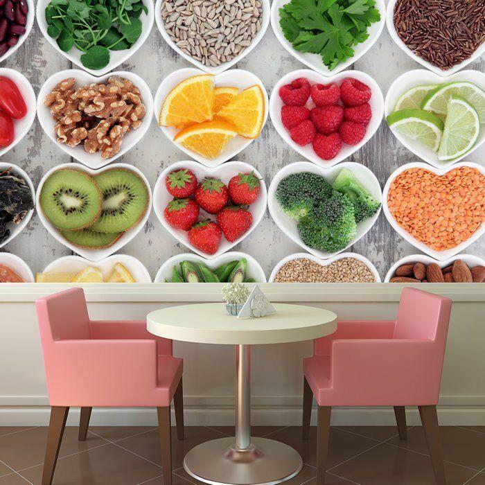Obst & Gemüse Herz Fototapete Essen Tapete Küche Cafe Wohnkultur