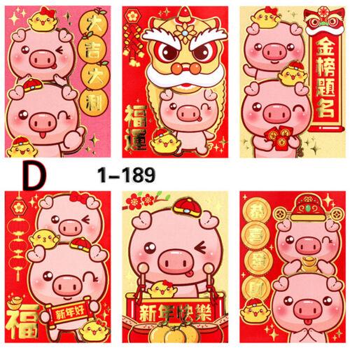 6X Lindo Red Envelope para rellenar dinero tradición china Hongbao Regalo Presente Zb