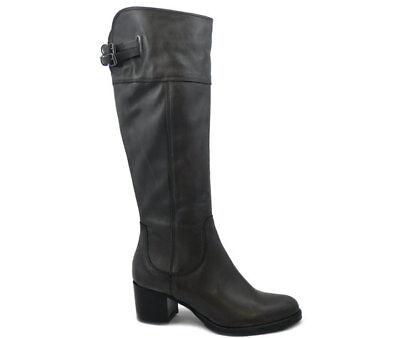 Stivali Donna al ginocchio in Pelle Grigio Tacco Medio 6 cm