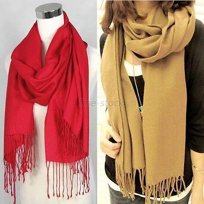 Winter Lady Wrap Scarf Long Wool Blend Warm Soft Shawl Stole Tassel Kerchief F83