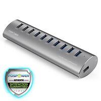Fospower 10-port Usb 3.0 Aluminum Hub W/usb Charging Ports For Pc Mac (silver)