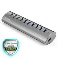 Fospower 10-port Usb 3.0 Aluminum Hub W/usb Charging Ports For Pc Mac (silver)