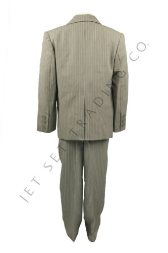 BOYS 5 PC DARK TAUPE SUIT SET  PINSTRIPE SIZES 4-20