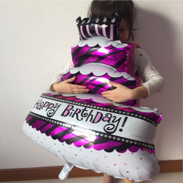 1/2x Happy Birthday Cake Shape Foil Helium Balloon Birthday Party Decor 17.7FC S