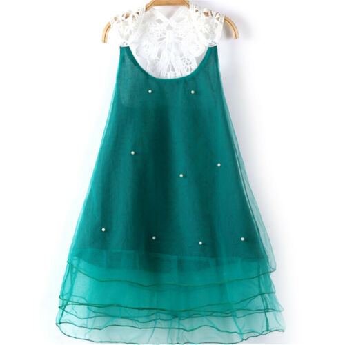 Girls Green Pearl Lace Flower Casual Dress Sundress Kids Summer Party Clothing..