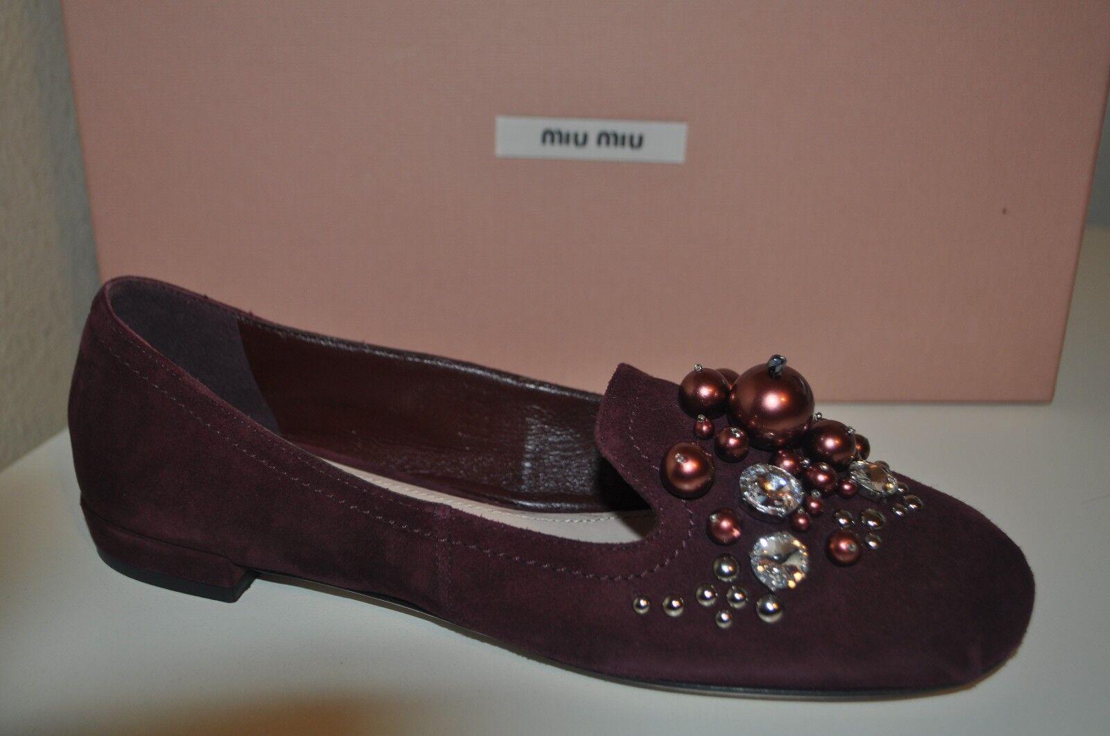 NIB Miu Miu Crystal Jeweled Pearl Embellished Loafer Flat shoes Velvet Purple 36