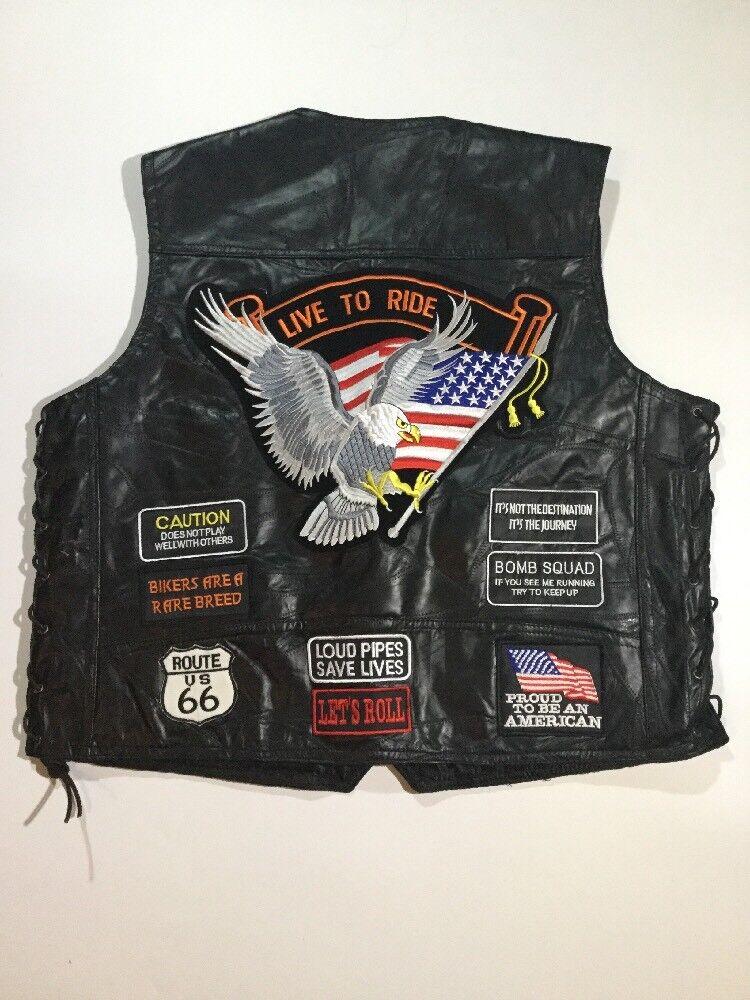 Diamond Plate  Herren Größe 2XL Leder Biker American Flag Embroidery Patch Vest