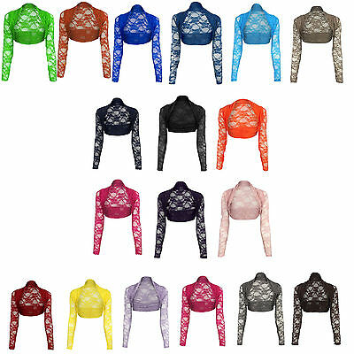 Womens Cropped Lace Shrug Ladies Bolero Plus Size Cardigan Top Size 8-26