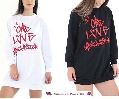 New Ladies Printed Celeb Concert Baggy ONE LOVE MANCHESTER Sweatshirt Dress TOP