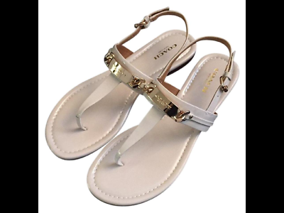 COACH Women's Caterine Sandals Thongs Ivory Patent Leather Gold Logo US Size 8.5 | eBay