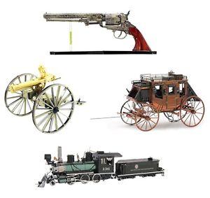 4-Metal-Earth-Wild-West-Revolver-Gatling-Gun-Stagecoach-Locomotive-3D-Model-Kit