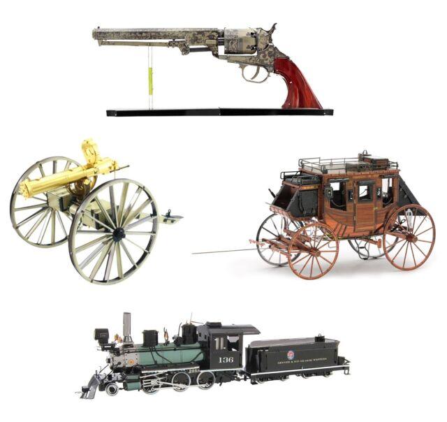 4 Metal Earth Wild West Revolver Gatling Gun Stagecoach Locomotive 3D Model Kit