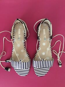 104cd4ccc Boden Sienna Fabulous Navy/White Stripe Leather Flat Sandals, UK5/38 ...