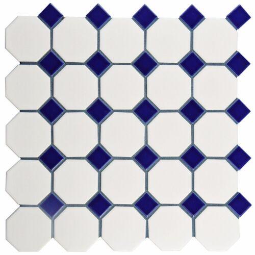 "2/"" Octagon Porcelain  Mosaic Tile Matte White With Glossy Cobalt Blue Dots"