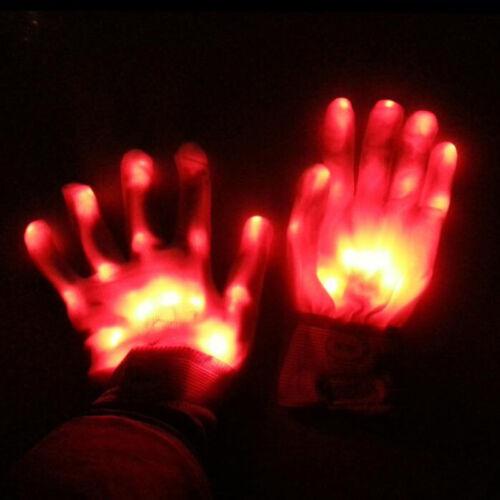 UK LED Finger Flashing Gloves Light Up Halloween Xmas Dance Rave Toys GEW