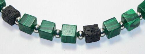 Halskette kette Würfel Naturstein Lava schwarz Schmuckstein Malachit grün  216e