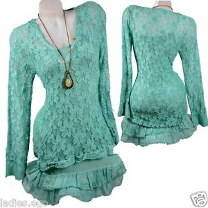 Classy-2tlg-Lace-Tunic-Cocktail-Dress-Undergarment-Layered-Look-36-38-40-42