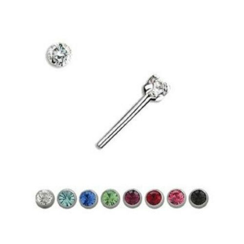 Prong Set Bendable Nose Ring with CZ Jewel 20G
