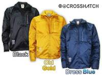 Mens Crosshatch Windbreaker Double Zip Jacket Shower Proof Collar Coat Track Top
