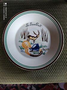 Assiette-en-Faience-HB-Quimper-signee-J-Lachaud-1889-1952