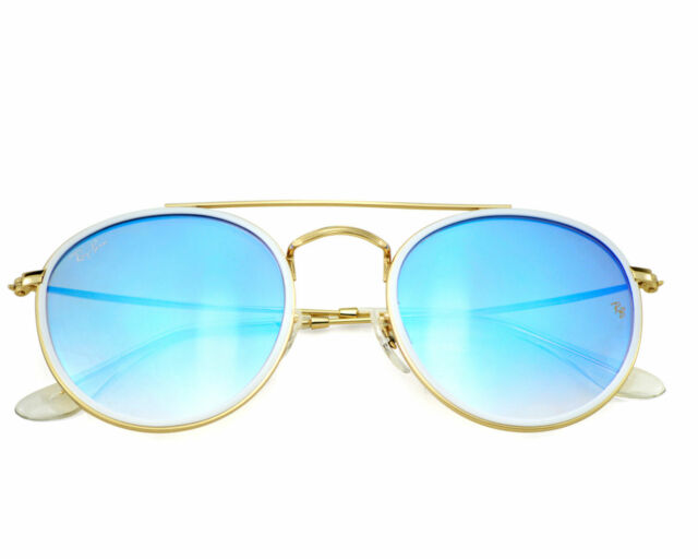 64b0f7bf654 Sunglasses Ray-Ban Rb3647n Round Double Bridge 001 4o 51 Gold Mirror ...
