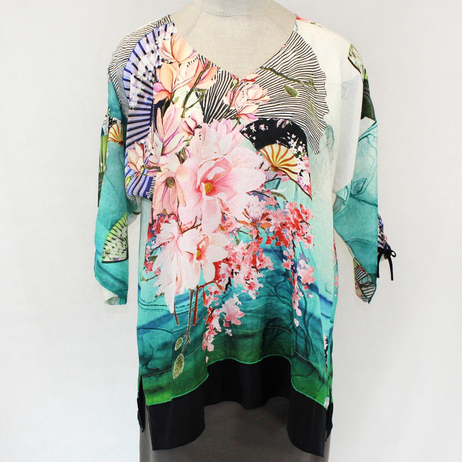 Citron Clothing Flowers & Fans Cold Shoulders V-Neck Tunic Blouse Plus 3X