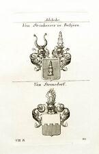 1825 2 Wappen von Steinhauser zu Bulgarn von Steinsdorf Kupferstich Tyroff