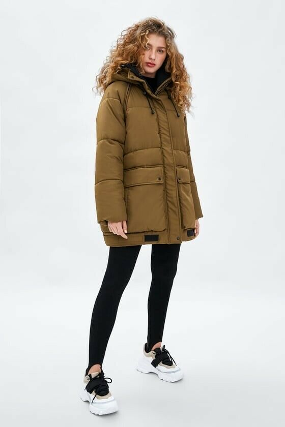 Zara AW18 Women Recycled Capsule Puffer Coat Outerwear Size L-XL NWT