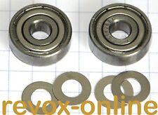 1 Satz 2 Stück Bandlauflager + 4 Distanzscheiben für Revox B77 MK II Kugellager