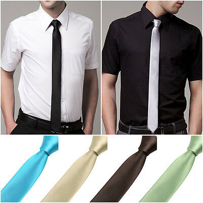 HOT Mens Classic Solid Plain Slim Skinny Tie Necktie Wedding Cocktail 21 Color