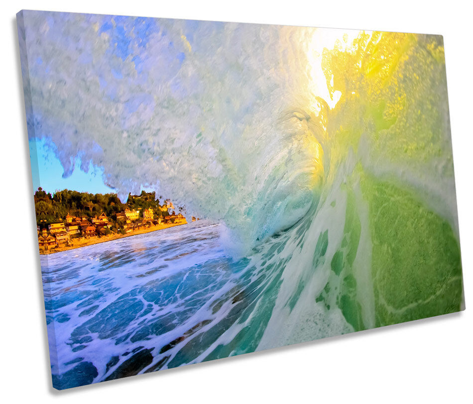Crashing Beach Wave Aqua CANVAS WALL ART SINGLE Picture Print