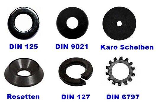 Unterlegscheiben Karoscheiben Schwarz Brüniert  M1,6 bis M12 SCHWARZE Scheiben  | Ausgezeichnete Leistung