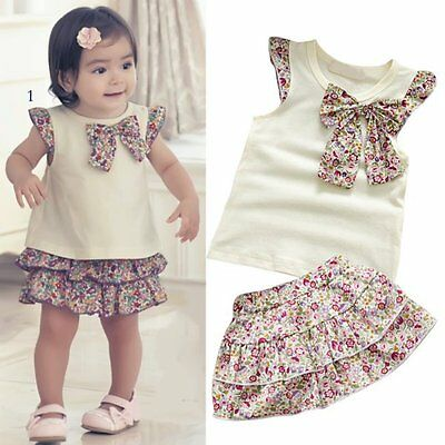 Kids Girls 2PCS Flowers Bow-knot Tops+Ruffle Culottes Set Outfits Clothes 0-3Y