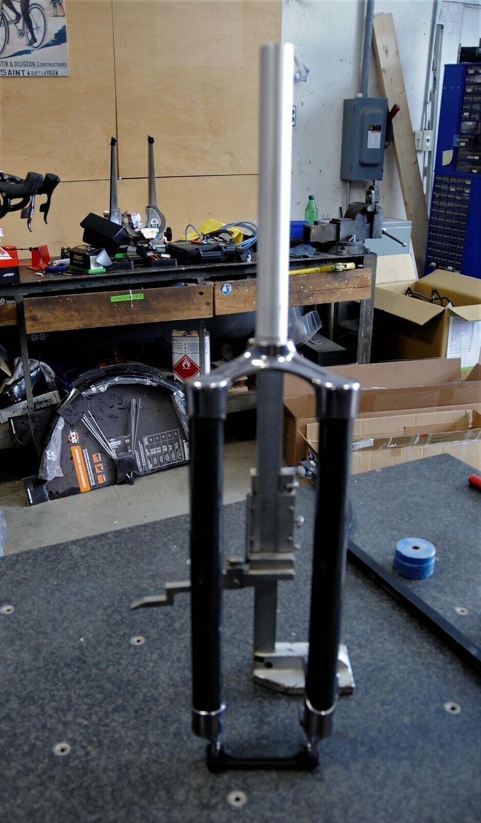 Rigid Carbon Mountain Bike Fork 1 1 8  Steerer 260mm 445mm Axle-Crown, 45 offset