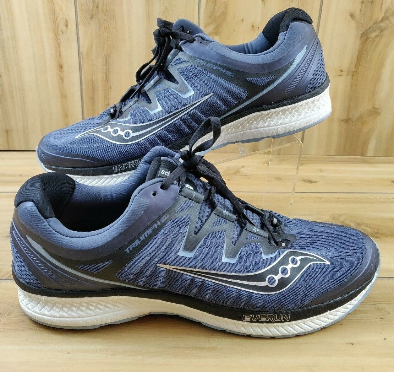 New Saucony Men's Triumph ISO 4 Running shoes Grey Black 15 Wide US S20414-1