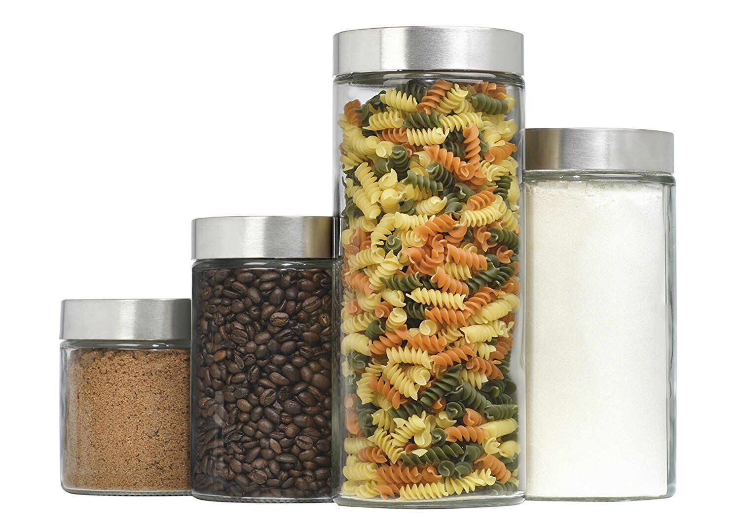 Canister Set, 4-Piece Glass w  Steel Lids, Airtight, Storage, Kitchen, Pantry.