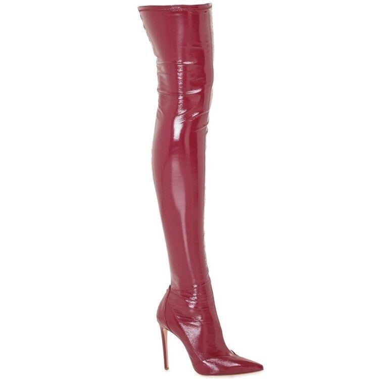 Damen Schenkelhoch Overkneestiefel Lackleder Stiletto High Heels Stiefel 46 47 48