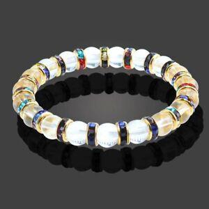 Bracelet Red C Zirconia Natural Crystal Agate Stone Yoga Beads Women UKseller